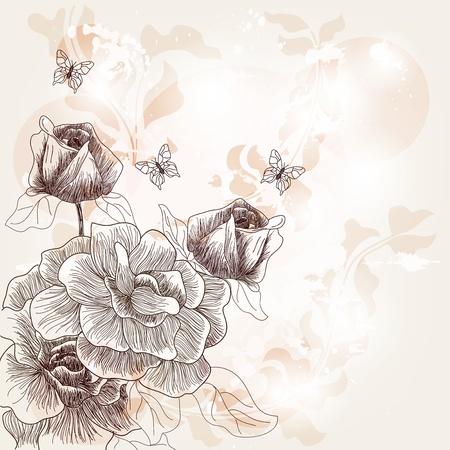 amazing wallpaper: cartolina romantica con rose disegnate a mano Vettoriali