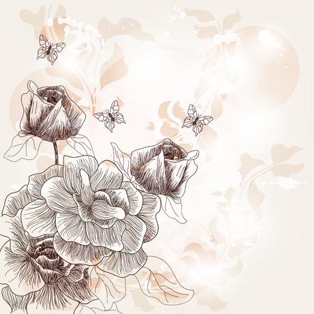amazing wallpaper: romantic postcard with hand drawn roses