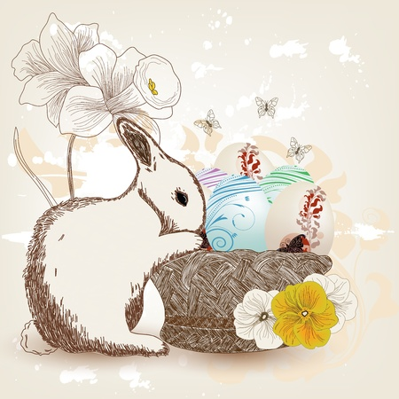 Hand drawn Easter composition