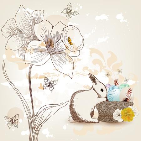 daffodils: Hand drawn easter postcard