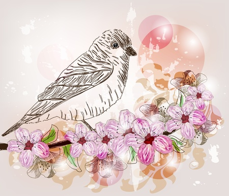 birds scenery: Hand drawn spring scene