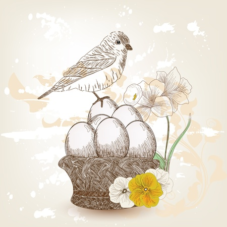 daffodils: hand drawn easter composition