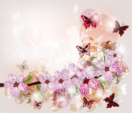 hand butterfly: artistic spring background Illustration