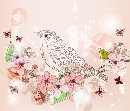 hand drawn spring scene Vector
