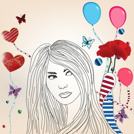 funny poster with a beautiful woman sketch Vector