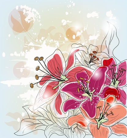 artistic composition with hand drawn lilies Illustration