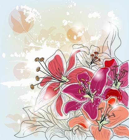flowery: composici�n art�stica con la mano lirios elaborados