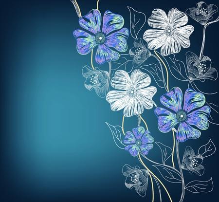 flores de cumplea�os: dise�o floral art�stico Vectores