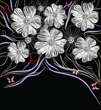 black and white floral background Stock Vector - 12352568