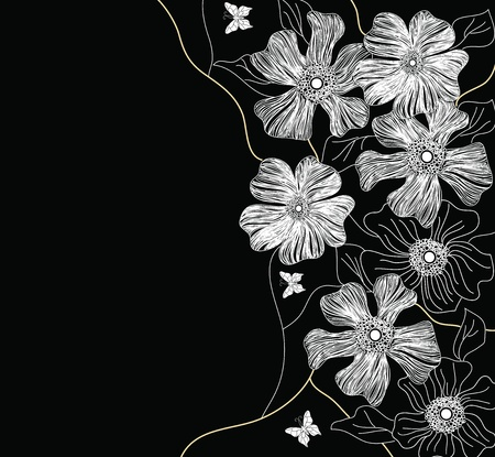 hand drawn decorated floral vector Vector