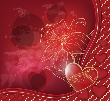 gold heart: valentine postcard with gold lily