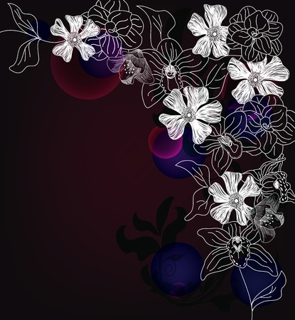 camellia: abstract dark background with different kinds of flowers Illustration