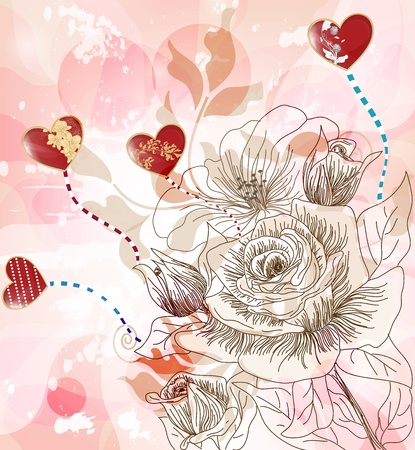 fantasy postcard with hand drawn roses and glossy hearts  Vector