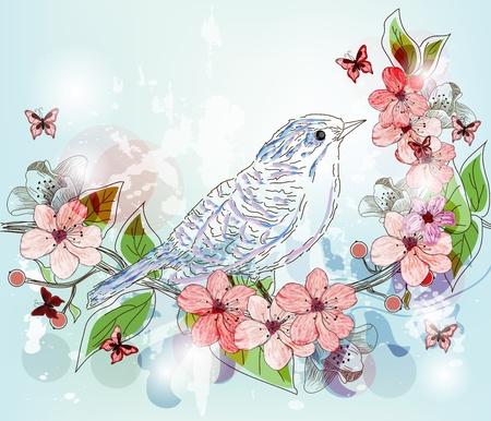 복숭아: 완벽하게 장식 된 손으로 그린 봄 풍경 일러스트