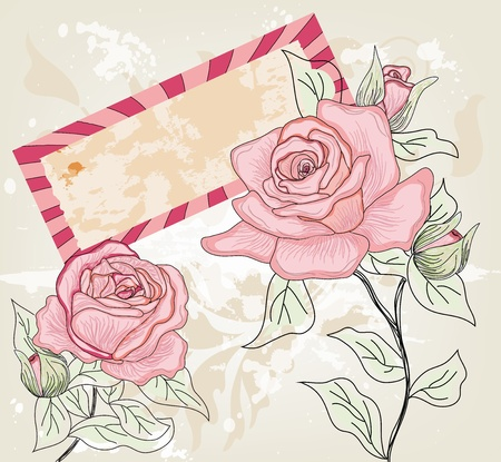 hand drawn rose: romantic postcard with hand drawn roses and label for text  Illustration