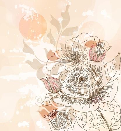 postales de la vendimia con las rosas dibujadas a mano