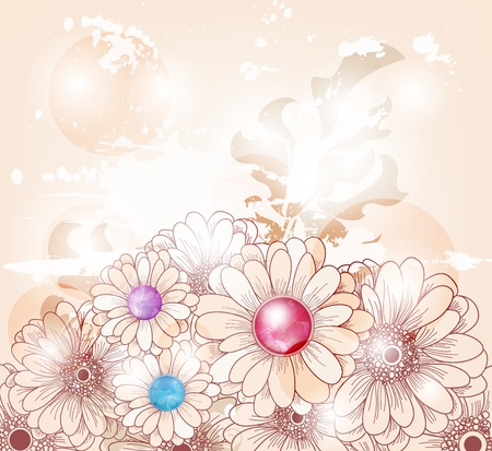 artistic vintage background with daisies Vector