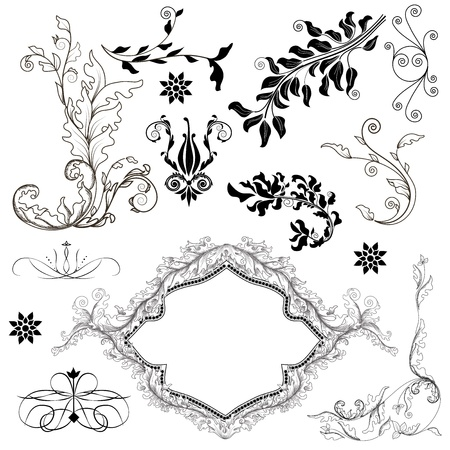 set of precious decorative elements Vector