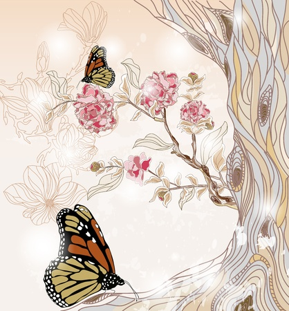 artistic spring scenery with peony branch, tree and butterflies