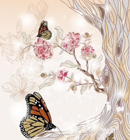 fantasia: un paisaje de primavera art�stica con la rama de peon�a, �rboles y mariposas Vectores