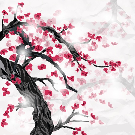 japanese ispired plum tree and flowers Vector