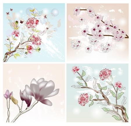 복숭아: 봄 장면의 설정 일러스트