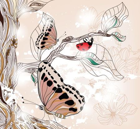 spring fantasy scene with ladybug and beautiful butterflies