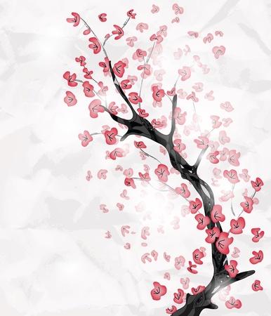 flor de durazno: rama de los cerezos en flor pintada en un estilo oriental con espacio para texto Vectores