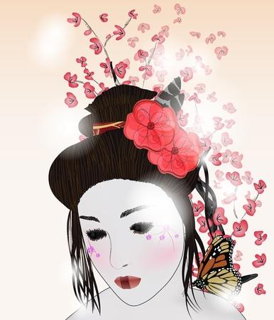 romantic portrait of a geisha Stock Vector - 12495235