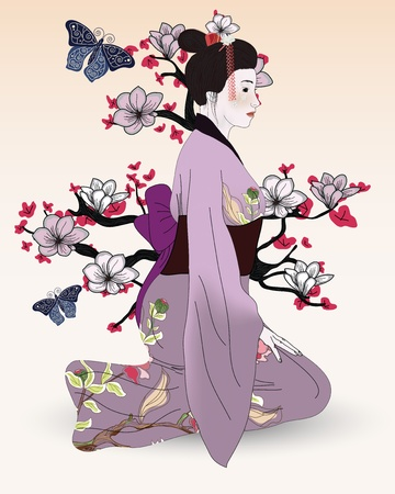 Beautiful geisha in a japanese garden Vector