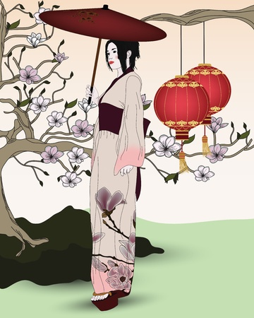 beautiful geisha with umbrella and traditional look in an oriental garden