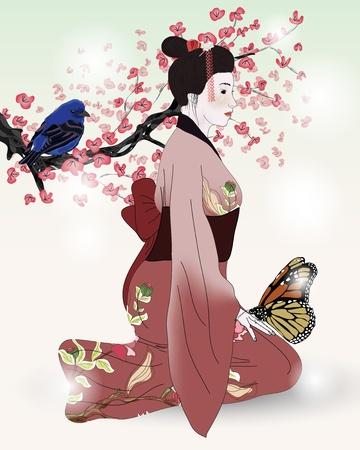 Japanese kimono girl: geisha, bướm và chim với nhánh hoa anh đào