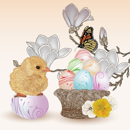 easter eggs basket: sweet easter scene