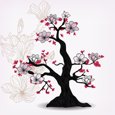magnolia tree Vector