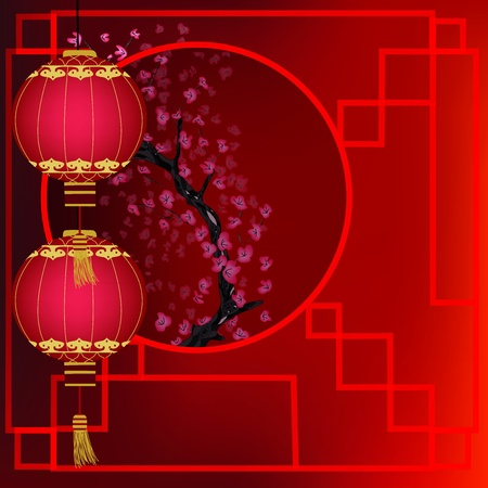 china landscape: oriental background with red lanterns and cherry blossom branch