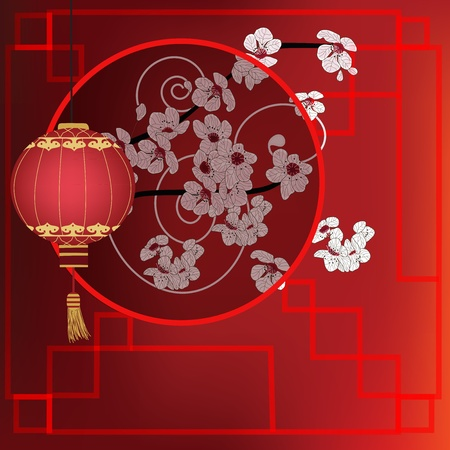 background with red lantern and cherry blossom branch Vector