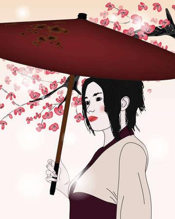beautiful portrait of a geisha Illustration