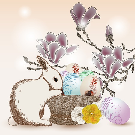 Easter illustration with rabbit, eggs and magnolia branch Stock Vector - 12495314