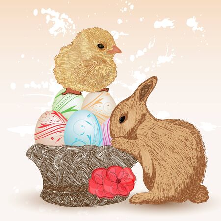 eggs in basket: Easter composition with rabbit, chick and easter eggs