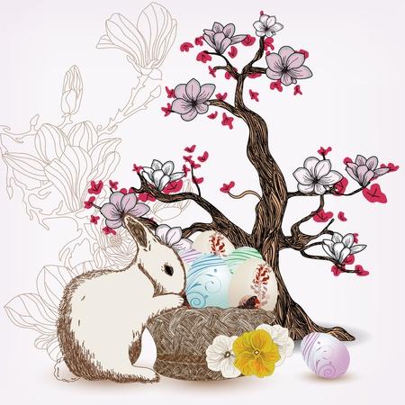amazing wallpaper: Illustrazione di Pasqua con albero di coniglio e magnolia