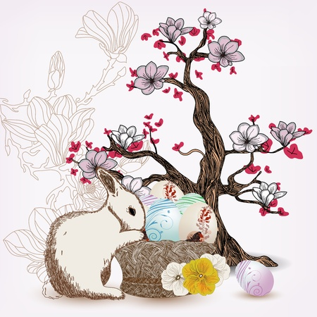 Easter illustration with rabbit and magnolia tree