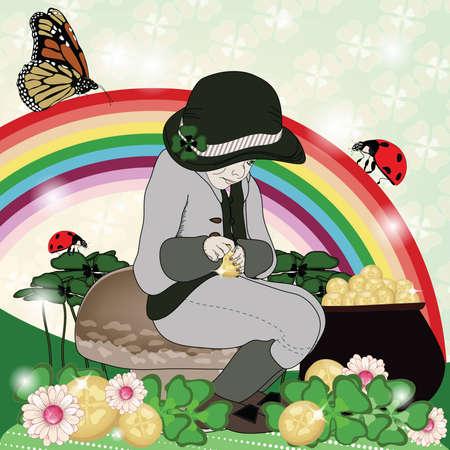 irish landscape: Saint Patrick day illustration with greedy elf and quaterfoils Illustration