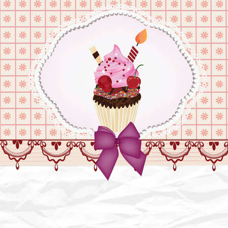 cream paper: invitation card with cupcake and space for text Illustration