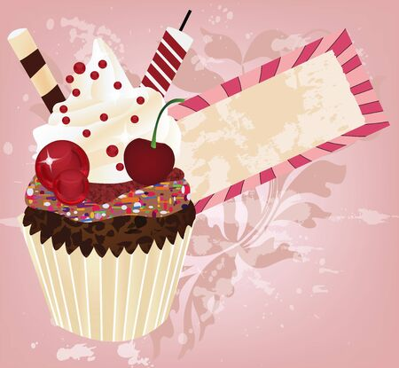 chocolate icing: birthday invitation card with delicious cupcake