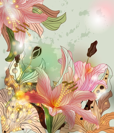 amazing wallpaper: shining lilies background Illustration