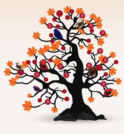 maple tre with colorful birds Stock Illustratie