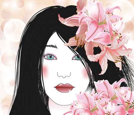 beautiful brunette with lilies Vector