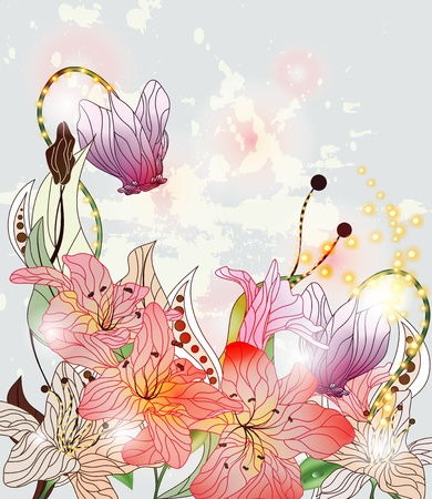enchanted flowers composition with space for text  Vector
