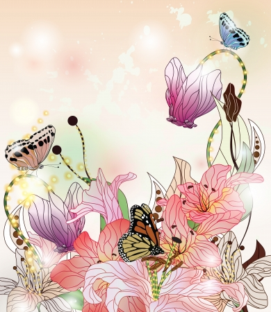 enchanted garden background with different kins of flowers, butterflies and space for text  Vector