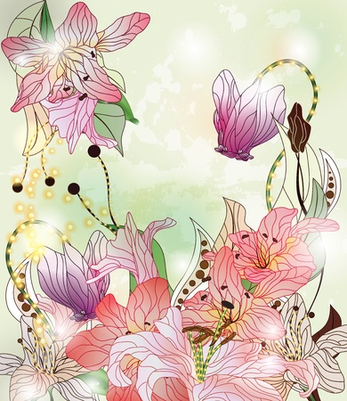 enchanted: fairy tale garden with different kinds of flowers  Illustration